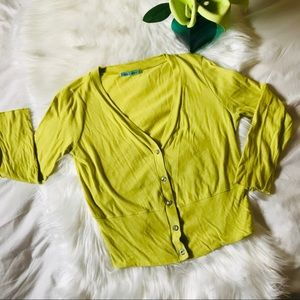 Velvet Solid Lime Button Up Cardigan, L